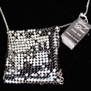 Whiting&Davis Miniature Mesh Purse Black Necklace